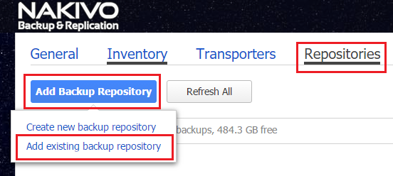 add VMware backup repository