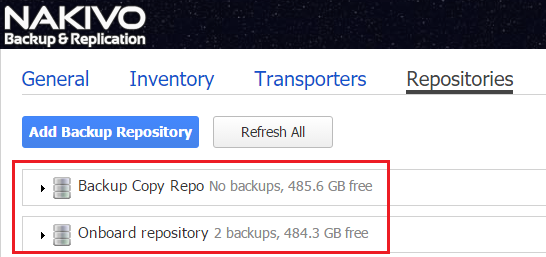 new VMware backup repository