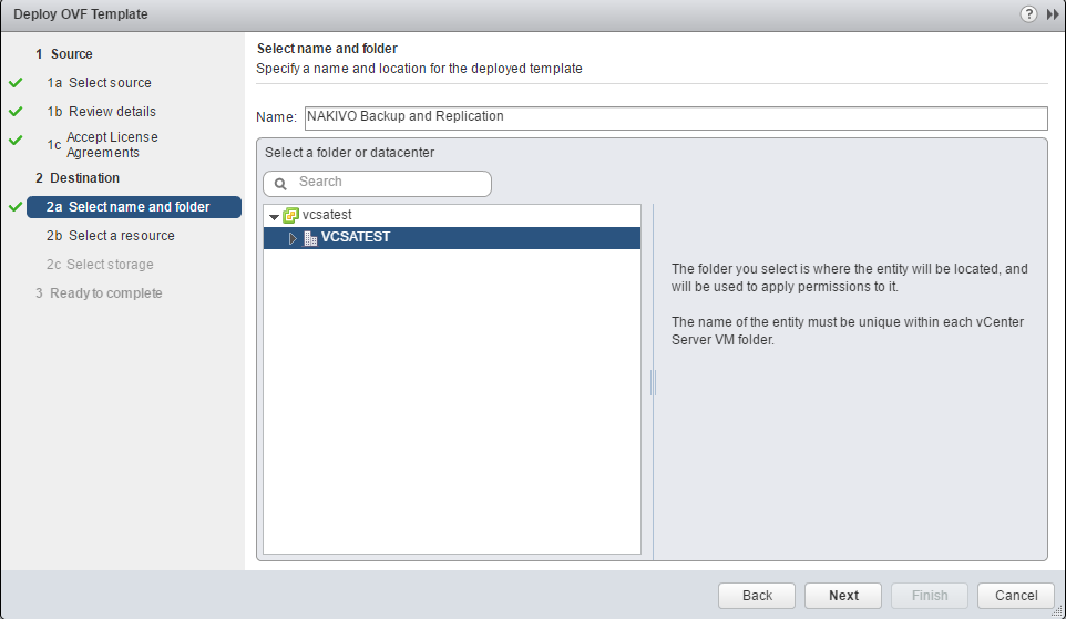 appliance in vSphere folder