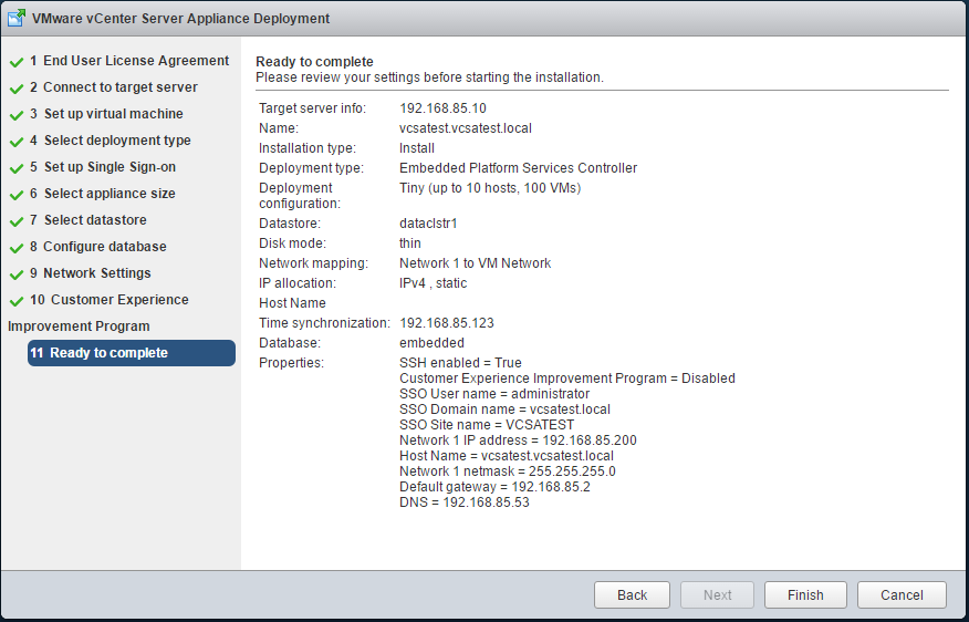 vCenter Appliance Deployment - Configuration Summary