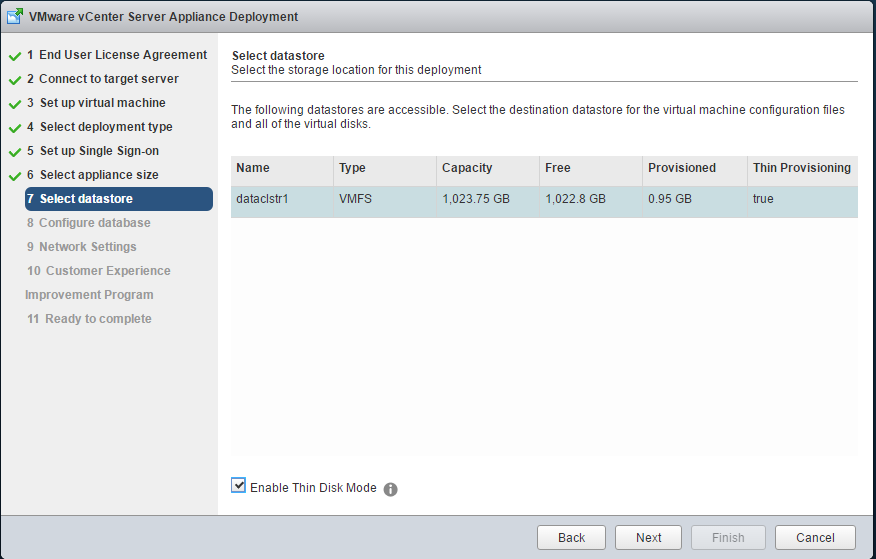 vCenter Appliance Deployment - Select Datastore