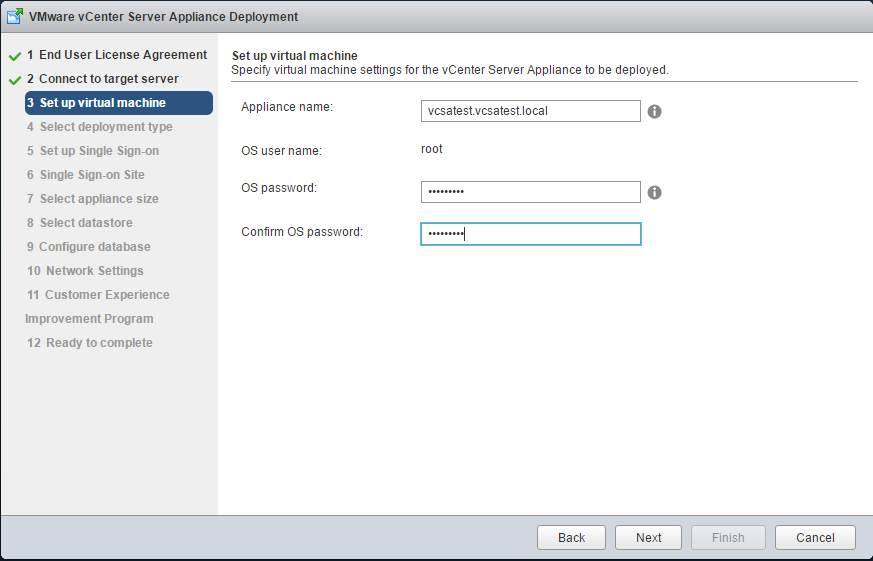 vCenter Appliance Deployment - Virtual Machine Setup