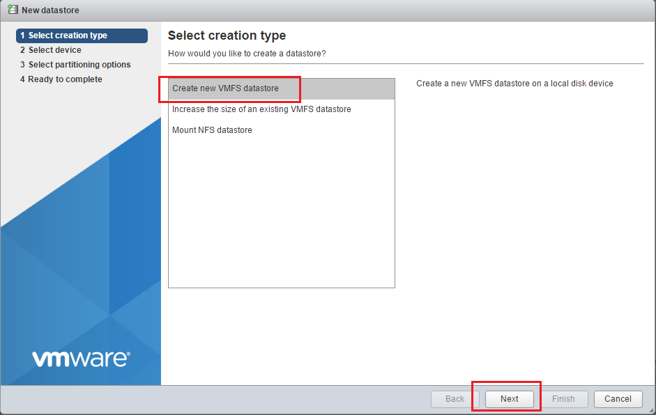 Create new VMFS datastore