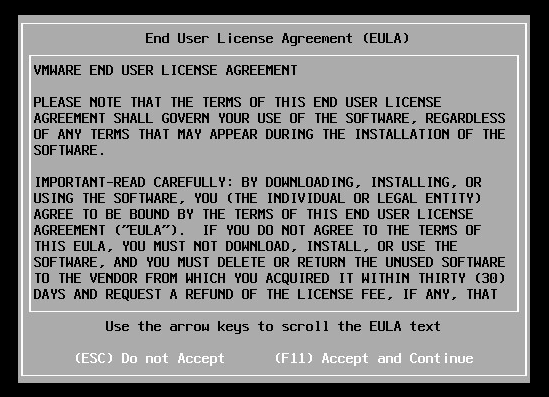 VMware ESXi End User License Agreement