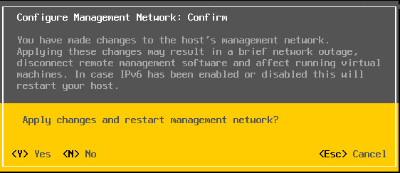 Management network restart