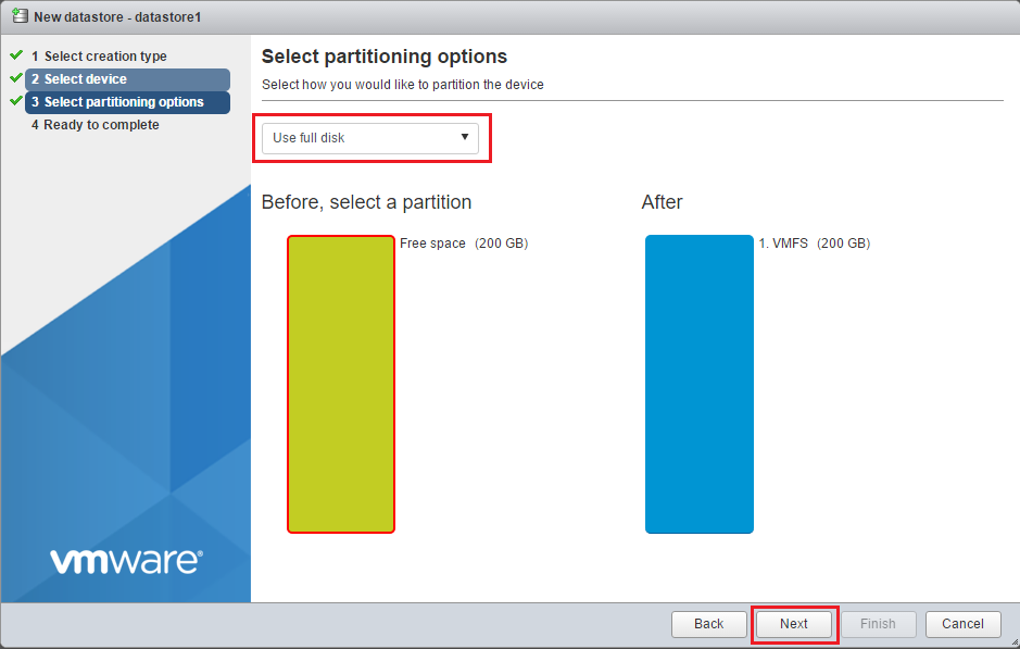 Partition and format the volume with VMFS partitioning options