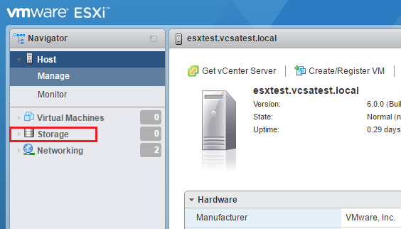 Get the storage for ESXi host setup