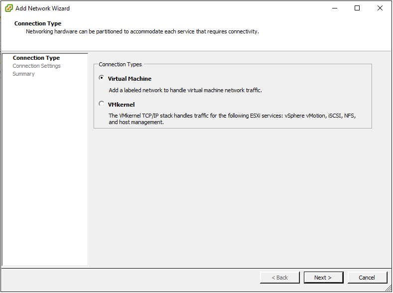 Select Virtual Machine as the Connection Type