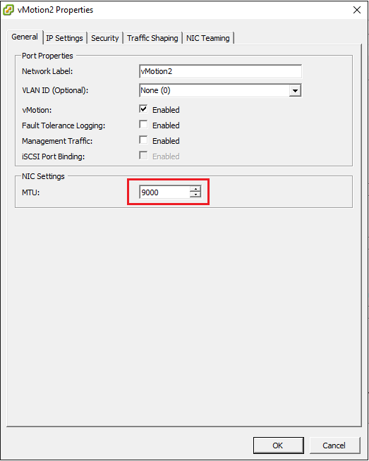 Change jumbo frames in vMotion2 network