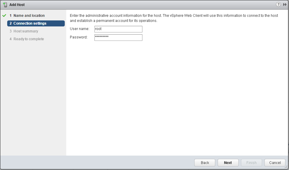 Enter administrative account information for the host