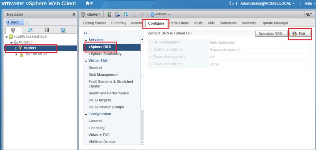 VMware Cluster. DRS Configuration