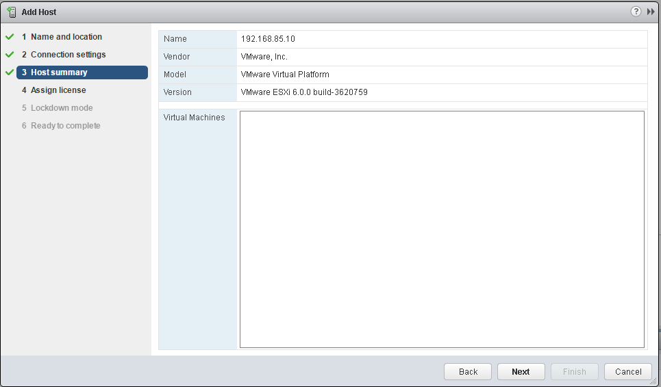 VMware ESXi host summary