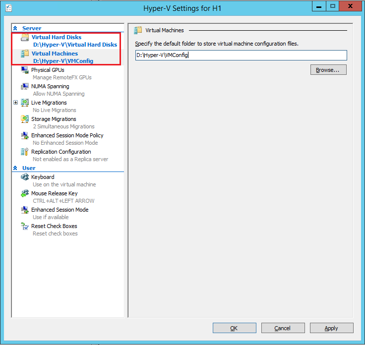 Hyper-V settings: storage for virtual machines