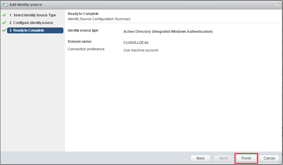 Complete Active Directory identity source configuration