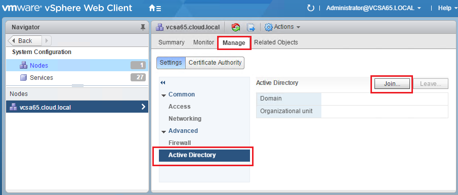 How to Integrate in AD with VMware vSphere