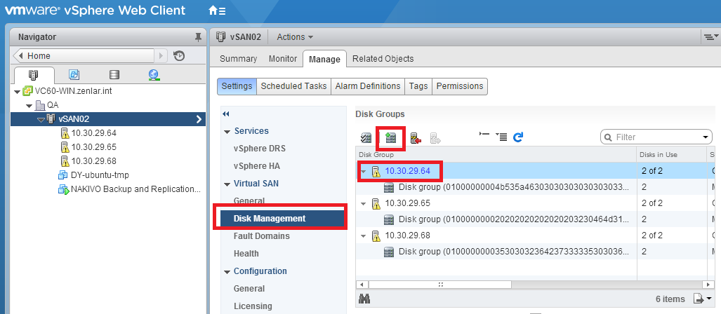 ESXi Host - Create new disk group