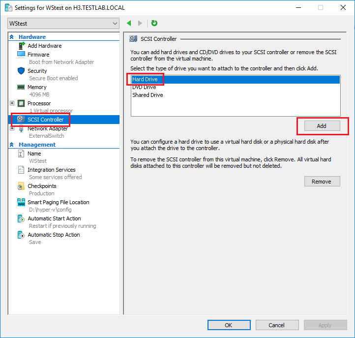 Creating a Fixed-Size Hard Disk for a Hyper-V VM