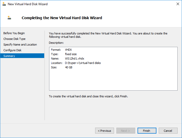 Completing Virtual Hard Disk Wizard