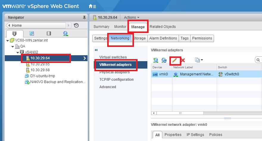 vSphere Web Client - VMkernel adapters