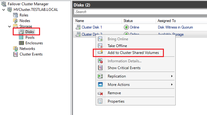 Add Cluster Shared Volume