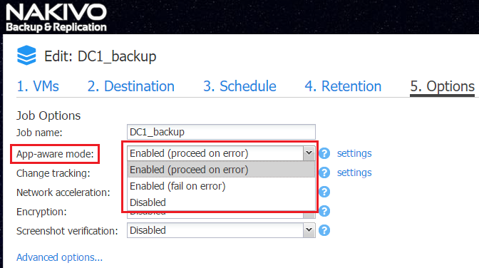 Application-aware backup