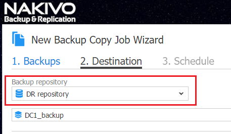Backup Copy Destination