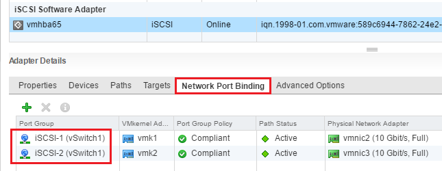 iSCSI VMkernel port bindings