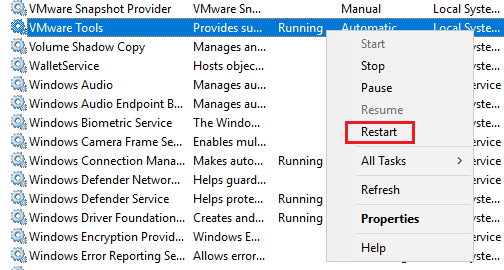 Restart the VMware tools service