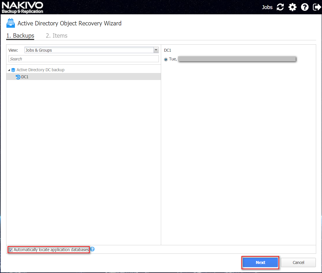 NAKIVO Active Directory Object Recovery Wizard