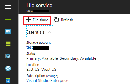 Add Azure File Share