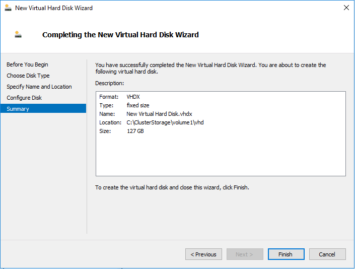 Creating hard disk in a Hyper-V cluster with a ReFS clustered shared volume