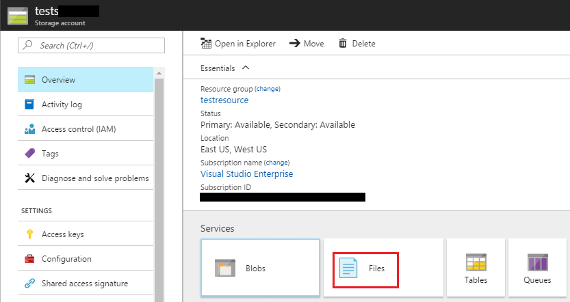 Azure Storage Account: Files