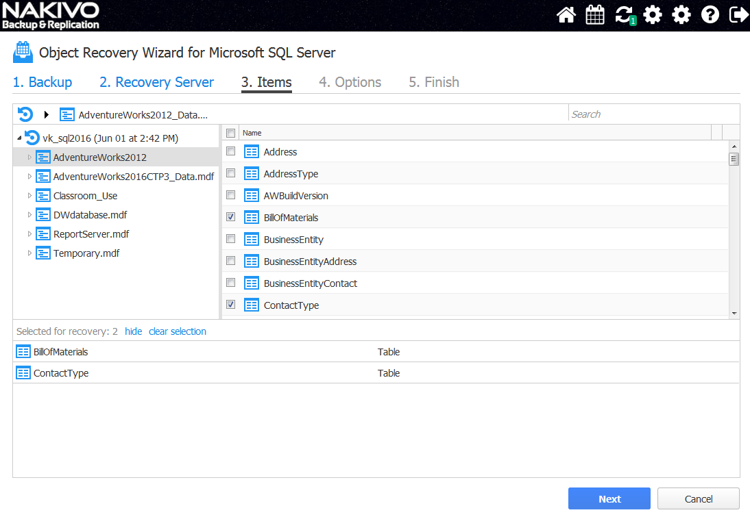 NAKIVO Instant Object Recovery for Microsoft SQL Server