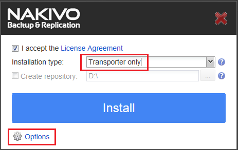 NAKIVO Transporter only installation