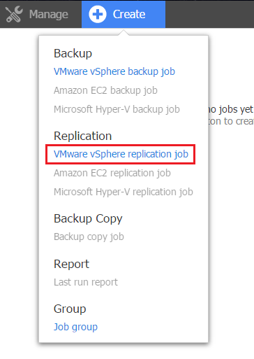 DRaaS:Create VMware vSphere replication job