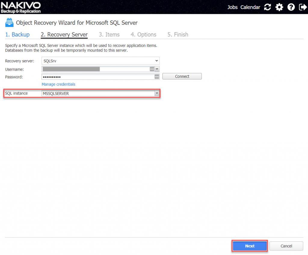 Choose SQL instance