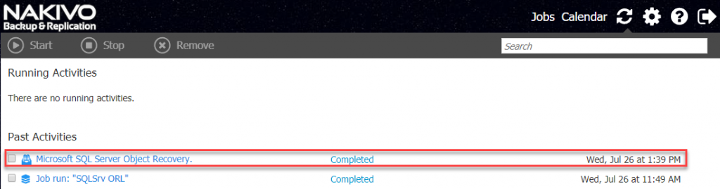Microsoft SQL Server Object Recovery Completed