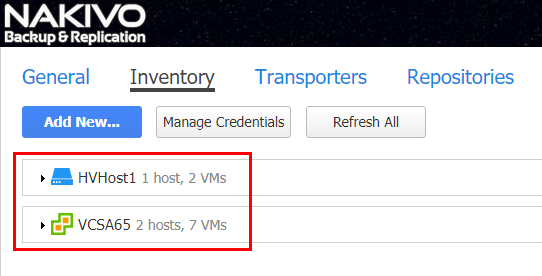Inventory of NAKIVO Backup & Replication