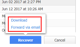 Download or Forward via email options