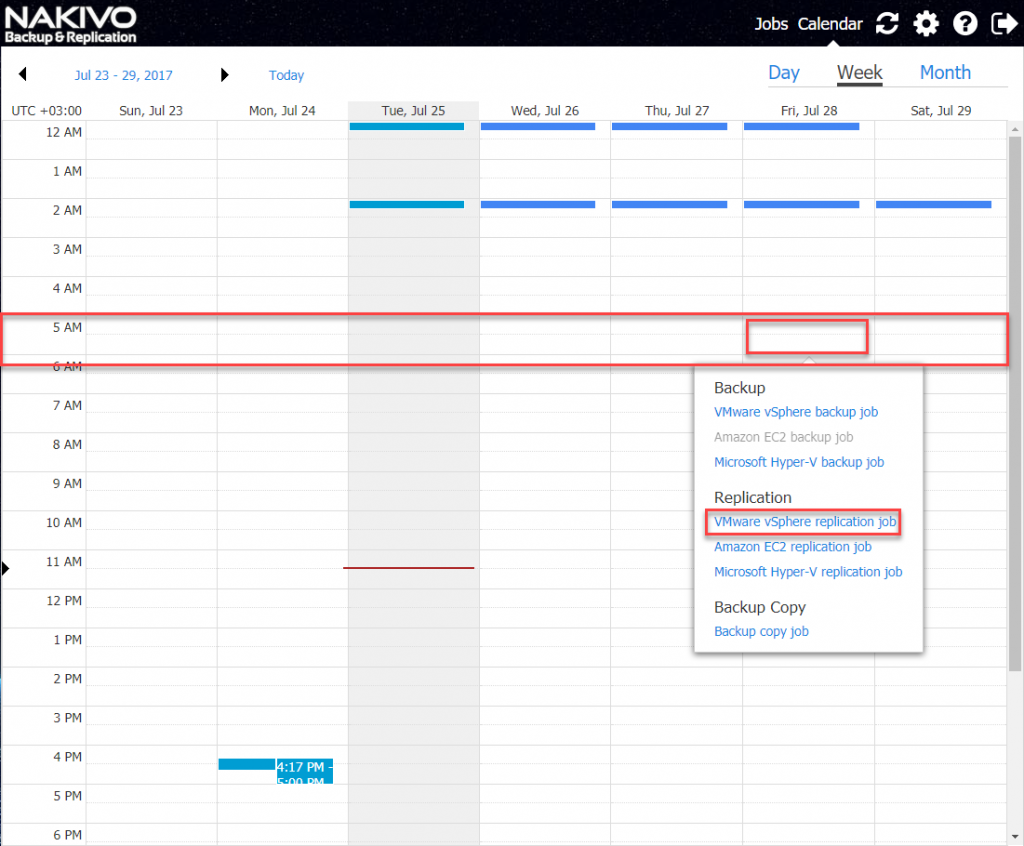 Creating job in the Calendar Dashboard