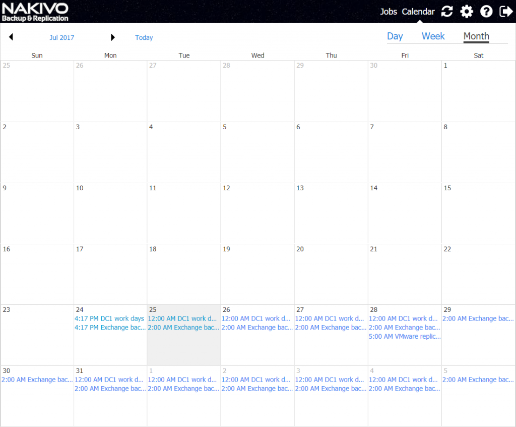 Month view of the Calendar Dashboard