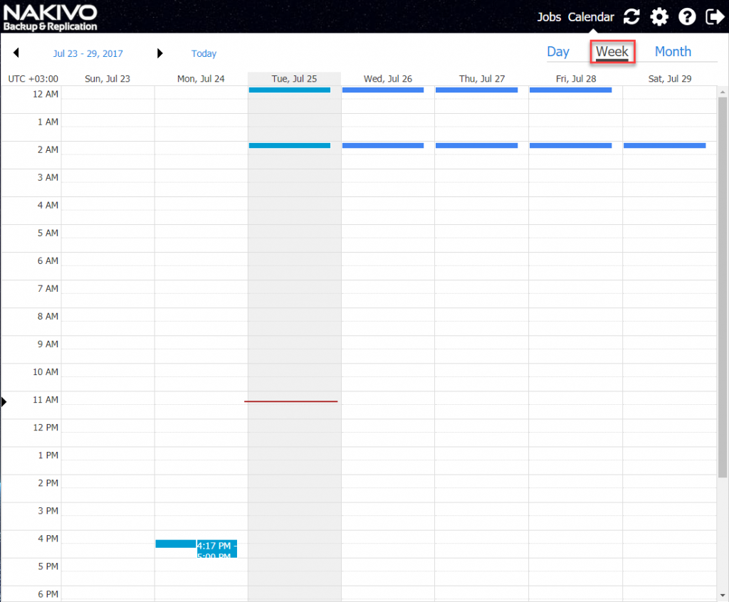 Week view of Calendar Dashboard