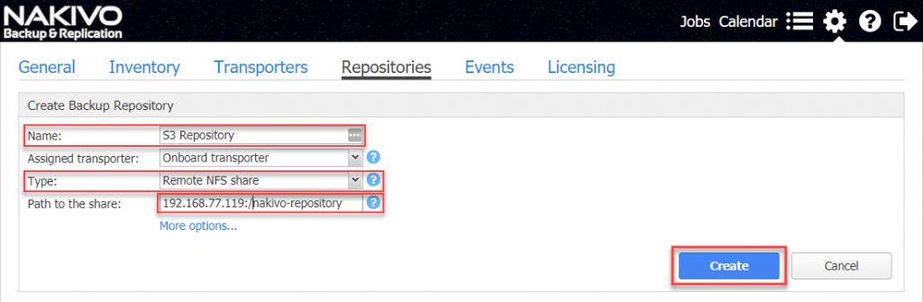 Configure new repository parameters