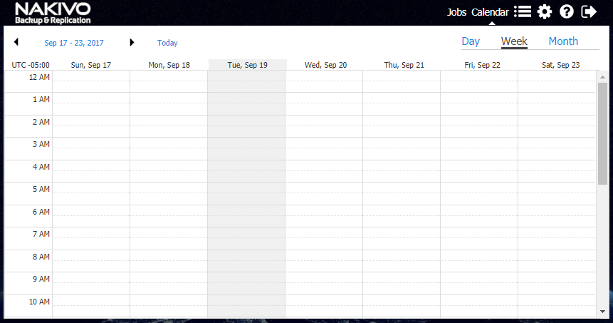 The new Calendar interface with NAKIVO Backup & Replication 7.2 makes jobs easily configurable