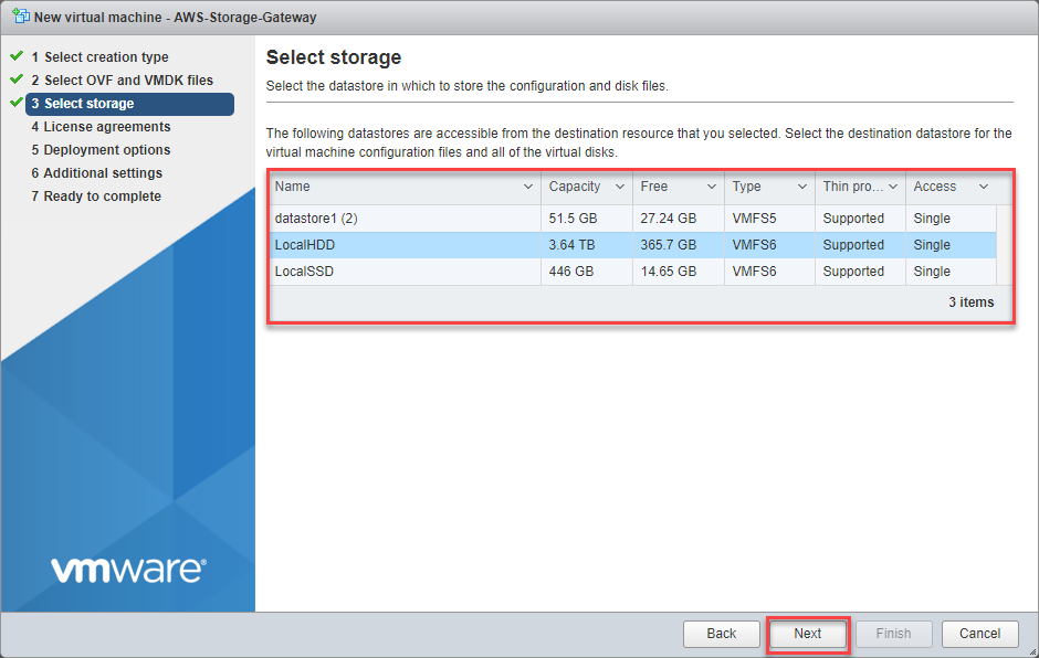 Select storage for File Gateway
