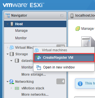 Create/Register VM in VMware ESXi web interface