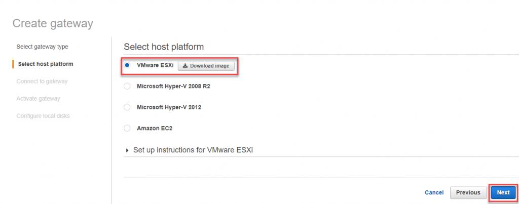 Select VMware ESXi host platform