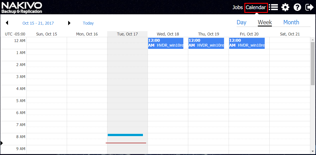 Using the Calendar interface to view your job schedule