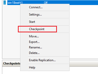 Creating a new checkpoint on a Hyper-V virtual machine