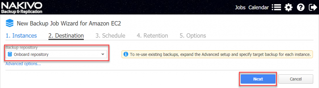 Select backup repository